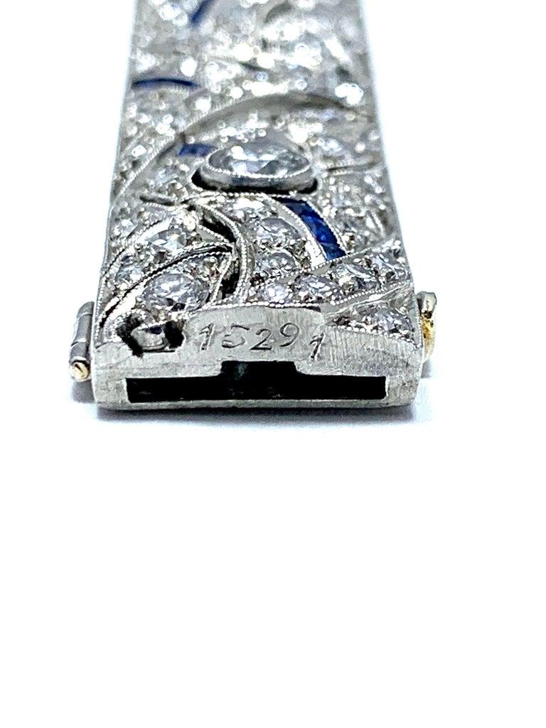 Women's or Men's Art Deco Round Diamond and Sapphire Platinum Bracelet For Sale