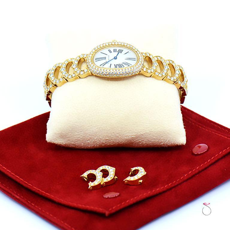 Cartier Baignoire 18k Original Diamond with Rare Logo Bracelet Watch, Ref. 1954 For Sale 5