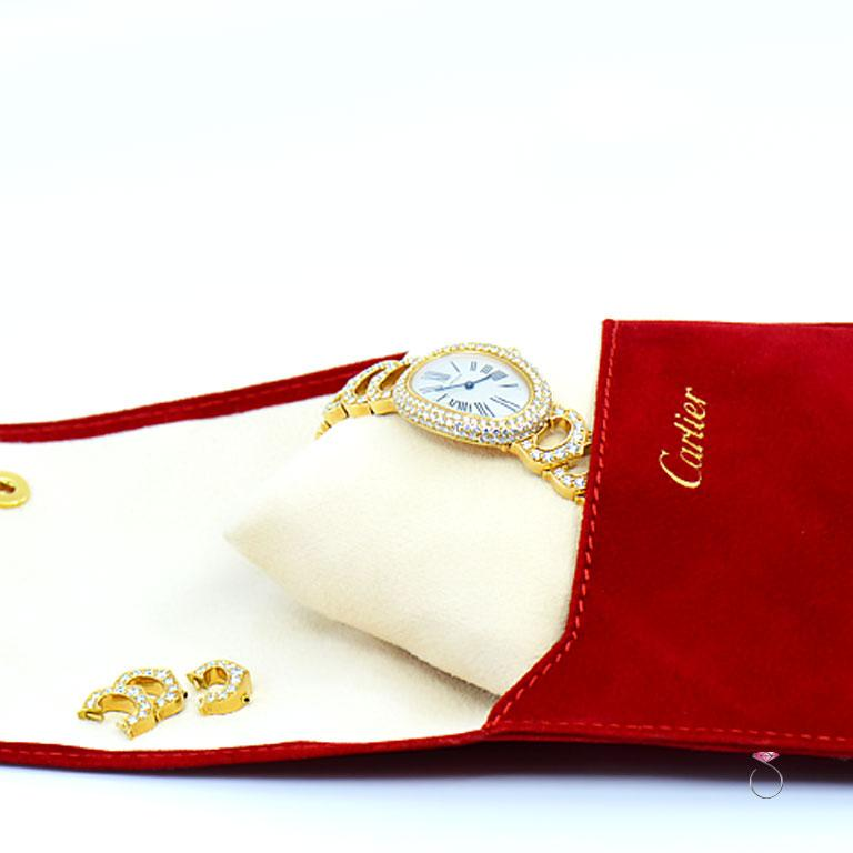Cartier Baignoire 18k Original Diamond with Rare Logo Bracelet Watch, Ref. 1954 For Sale 6