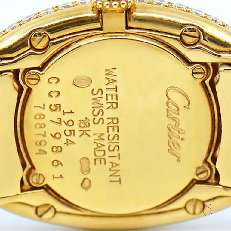 Cartier Baignoire 18k Original Diamond with Rare Logo Bracelet Watch, Ref. 1954 For Sale 7