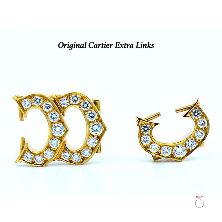 Cartier Baignoire 18k Original Diamond with Rare Logo Bracelet Watch, Ref. 1954 For Sale 8