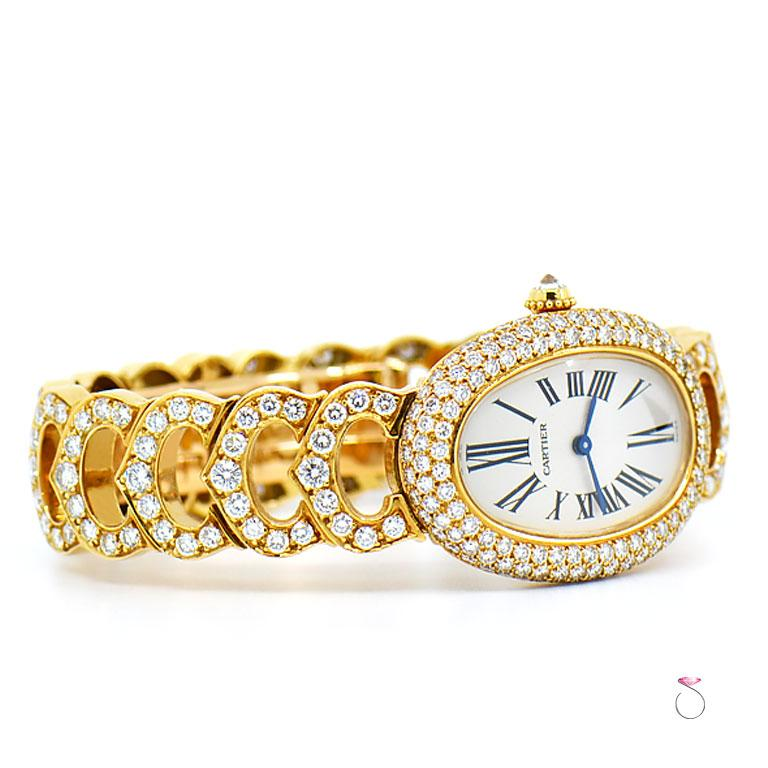 Round Cut Cartier Baignoire 18k Original Diamond with Rare Logo Bracelet Watch, Ref. 1954 For Sale