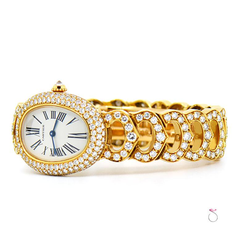 Cartier Baignoire 18k Original Diamond with Rare Logo Bracelet Watch, Ref. 1954 In Excellent Condition For Sale In Honolulu, HI