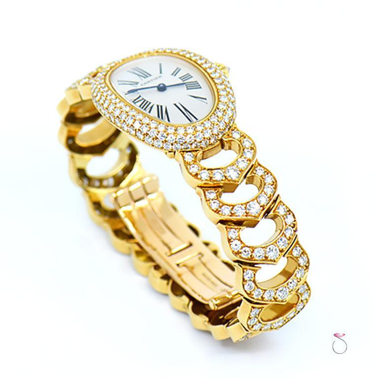 Women's Cartier Baignoire 18k Original Diamond with Rare Logo Bracelet Watch, Ref. 1954 For Sale