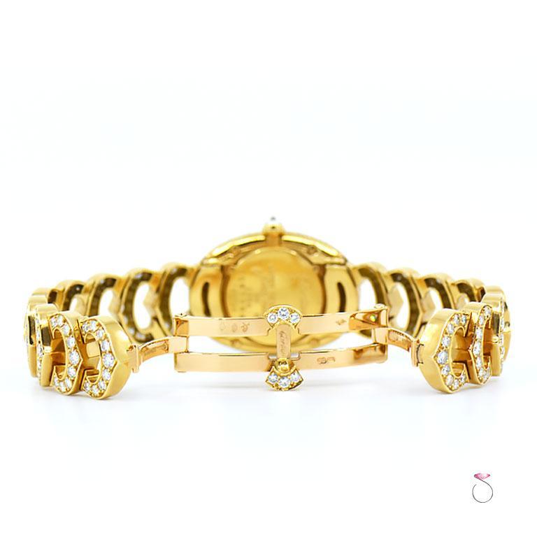 Cartier Baignoire 18k Original Diamond with Rare Logo Bracelet Watch, Ref. 1954 For Sale 4
