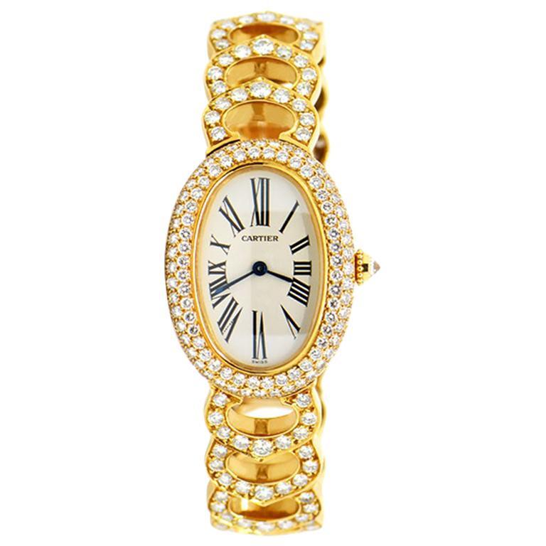 Cartier Baignoire 18k Original Diamond with Rare Logo Bracelet Watch, Ref. 1954