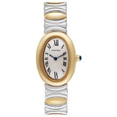 Cartier Baignoire 18 Karat Yellow Gold Steel Ladies Watch W15045D8