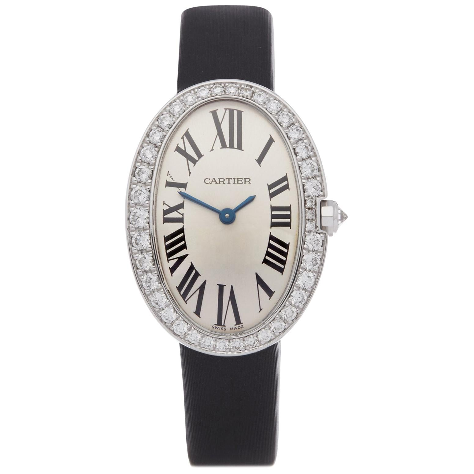 Cartier Baignoire 3065 Ladies White Gold Diamond Watch