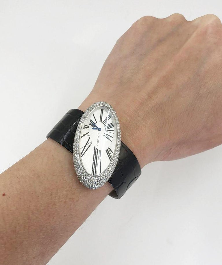 Cartier Baignoire Hypnose Diamond Pearl Watch In Excellent Condition For Sale In New York, NY