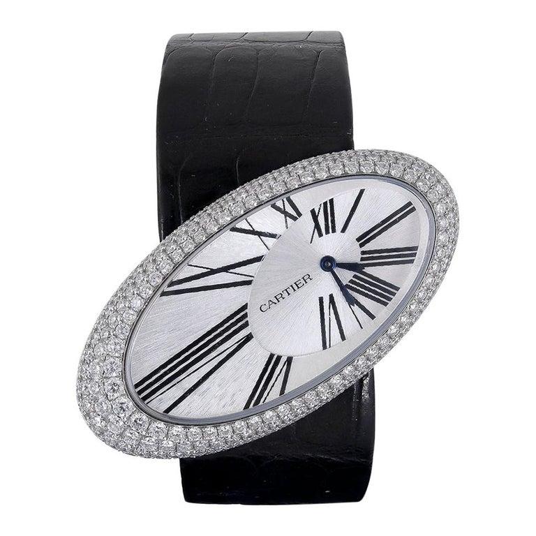 Cartier Baignoire Hypnose Diamond Pearl Watch For Sale