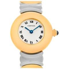 Cartier Baignoire Ladies Stainless Steel 18 Karat Yellow Gold Watch