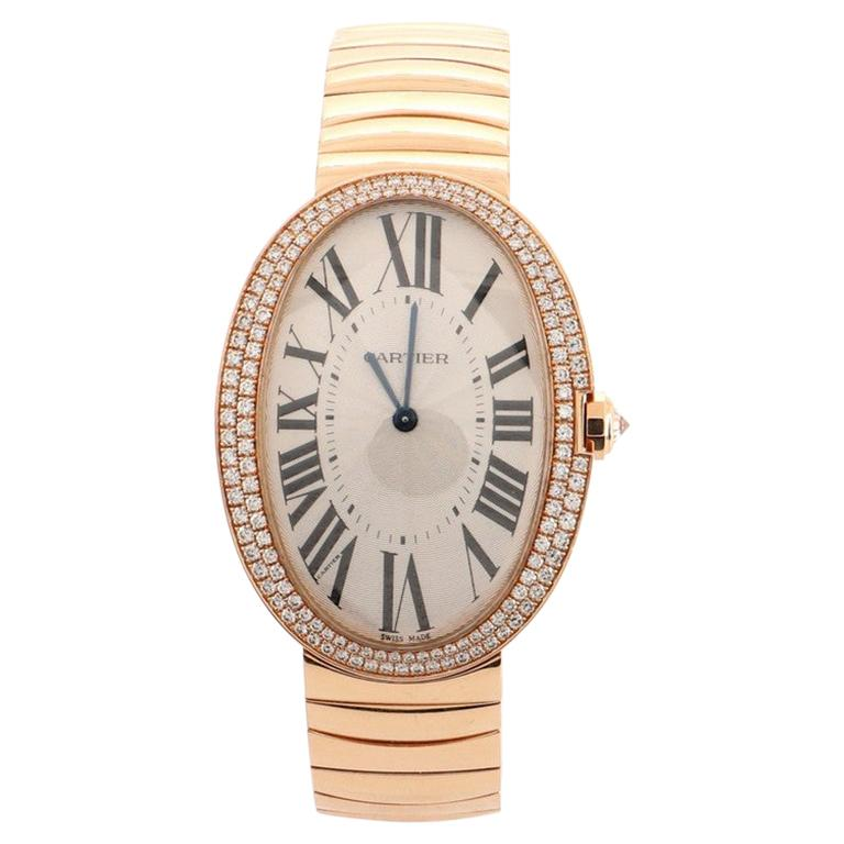 Cartier Baignoire Manual Watch Rose Gold with Diamond Bezel 34