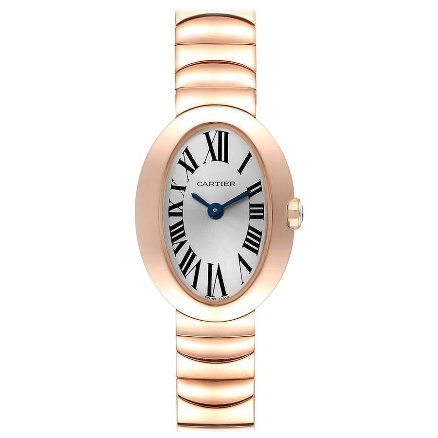 Cartier Baignoire Mini 18 Karat Rose Gold Ladies Watch W8000015 Box Papers