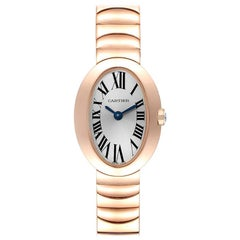 Cartier Baignoire Mini 18 Karat Rose Gold Ladies Watch W8000015 Box Papers