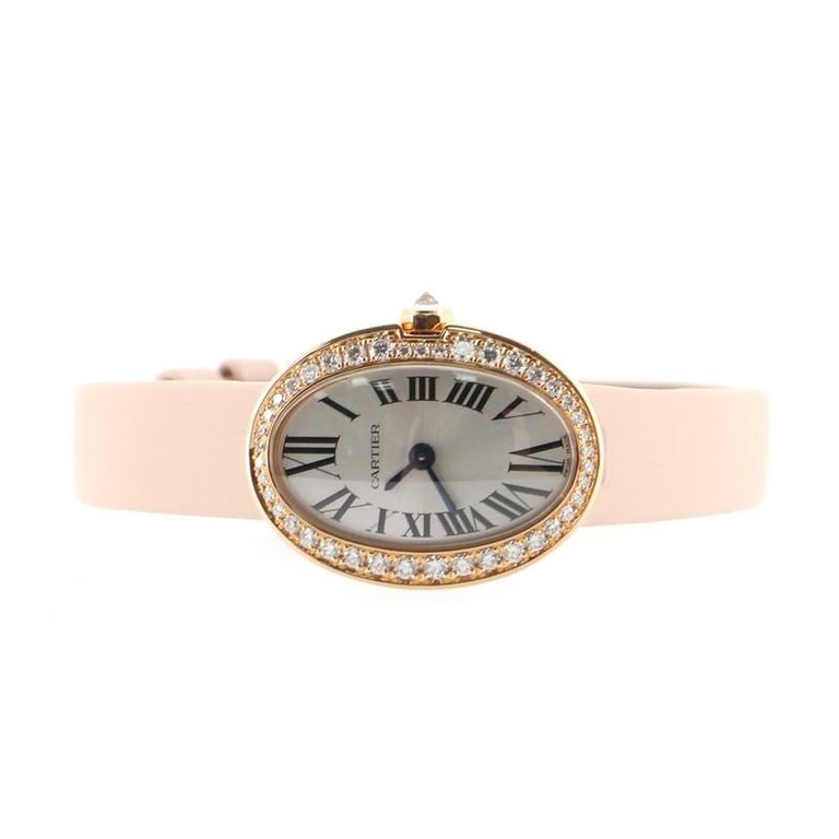 Cartier Baignoire Quartz Watch Rose Gold and Satin with Diamond Bezel 18 In Good Condition For Sale In New York, NY