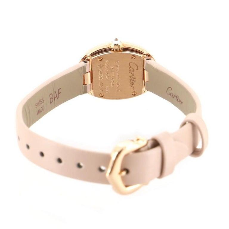 Women's Cartier Baignoire Quartz Watch Rose Gold and Satin with Diamond Bezel 18 For Sale