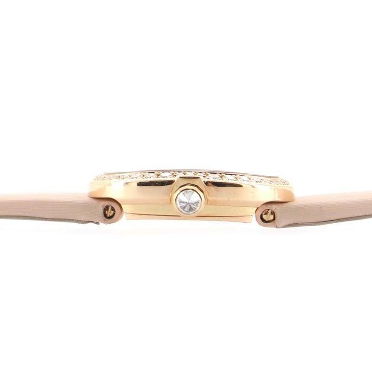 Cartier Baignoire Quartz Watch Rose Gold and Satin with Diamond Bezel 18 For Sale 1