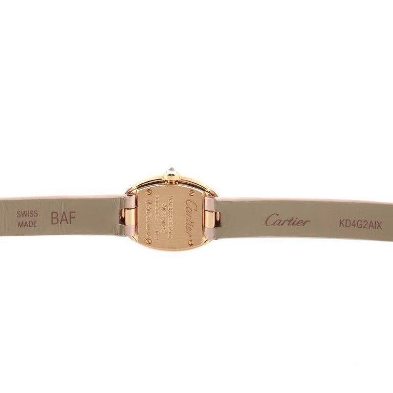 Cartier Baignoire Quartz Watch Rose Gold and Satin with Diamond Bezel 18 For Sale 2