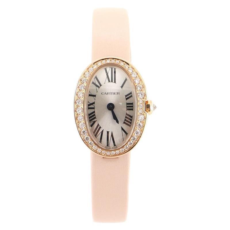 Cartier Baignoire Quartz Watch Rose Gold and Satin with Diamond Bezel 18