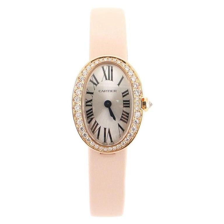 Cartier Baignoire Quartz Watch Rose Gold and Satin with Diamond Bezel 18 For Sale