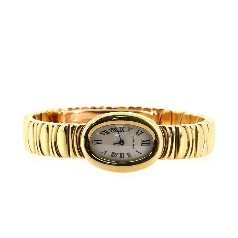 Women's Cartier Baignoire Quartz Watch Yellow Gold 18 For Sale
