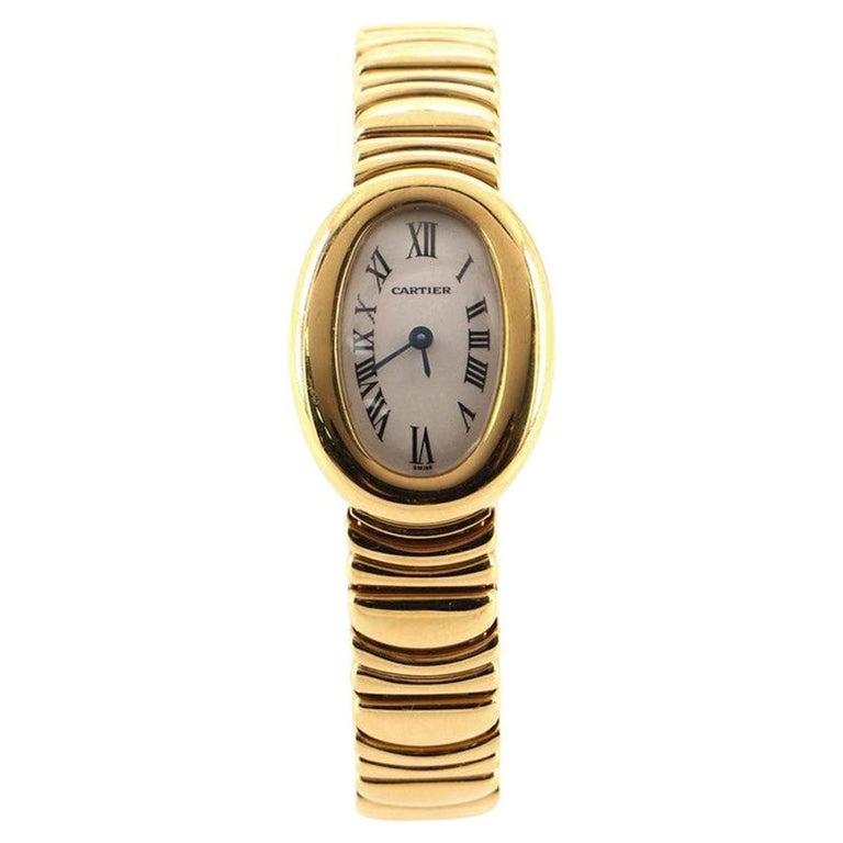 Cartier Baignoire Quartz Watch Yellow Gold 18 For Sale