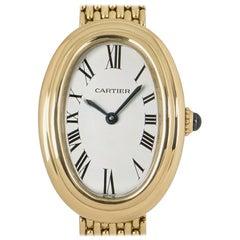 Cartier Baignoire Vintage Ladies 18 Karat Yellow Gold Silver Dial