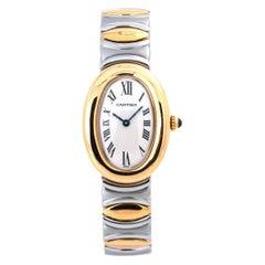 Cartier Baignoire W15045D8 Lady's Quartz Watch 18K Two Tone Off White Dial