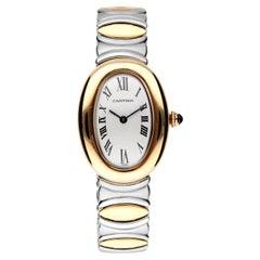 Cartier Baignoire Watch, 18 Kt Gold Case, Steel and Gold Bracelet