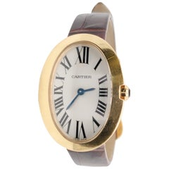 Cartier Baignoire Yellow Gold Ladies Watch on Leather Strap
