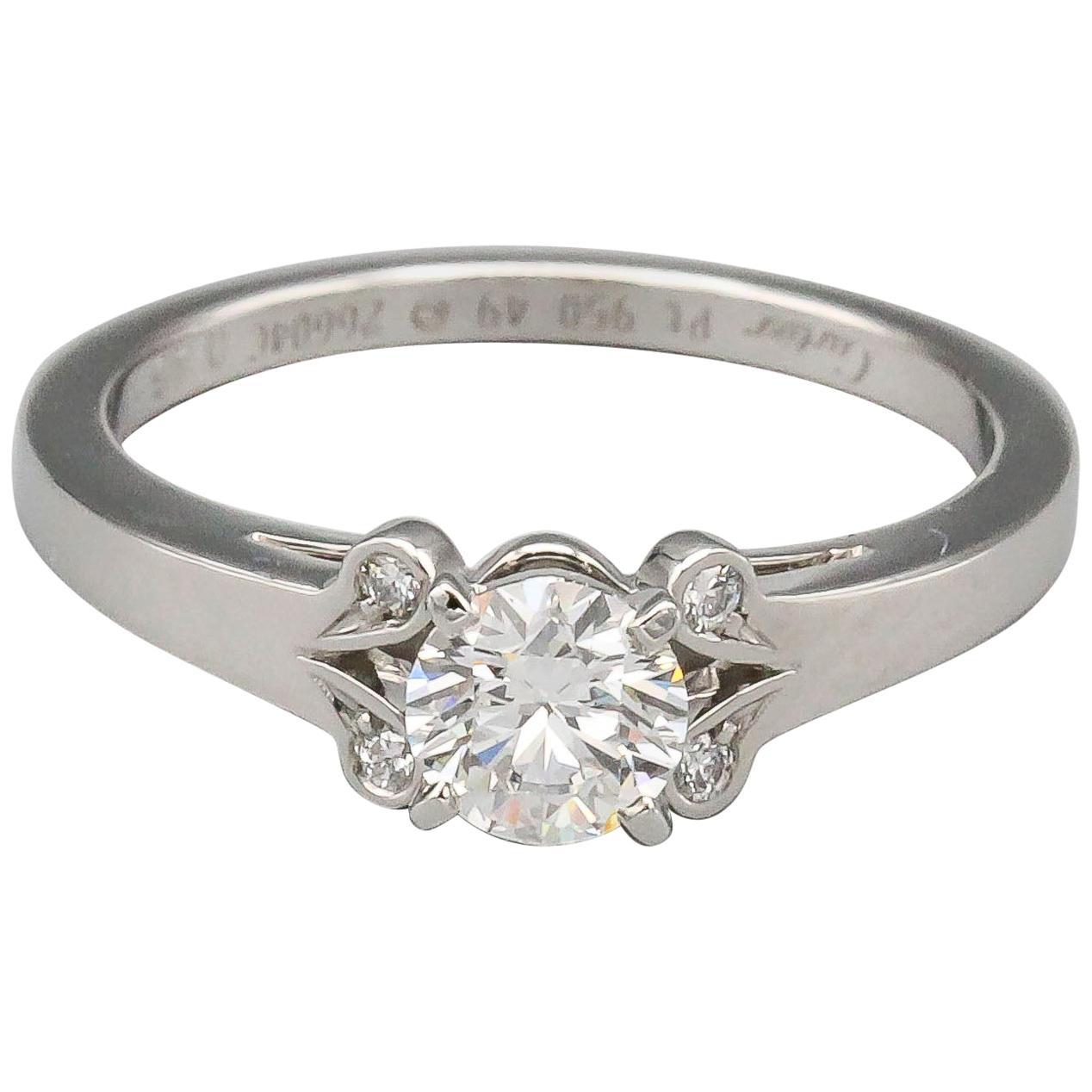 Cartier Ballerine .45 Carat F VVS1 Diamond Platinum Engagement Ring