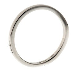 Cartier Ballerine Platinum Curved Wedding Band Ring Size 58