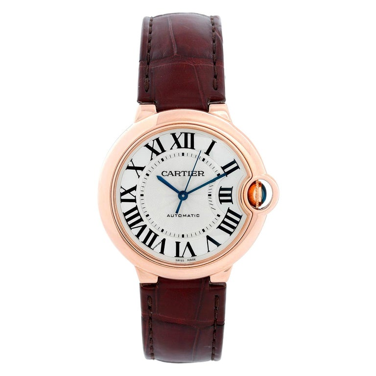 Cartier Ballon Bleu 18 Karat Rose Gold Ladies Midsize Watch WGBB0009 For Sale