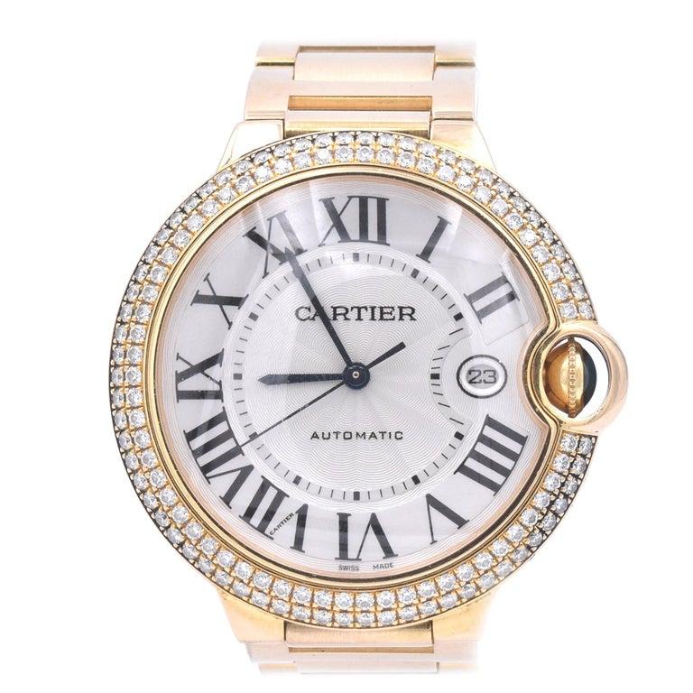 Cartier Ballon Bleu 18 Karat Yellow Gold and Diamond Watch Ref. 2998 For Sale