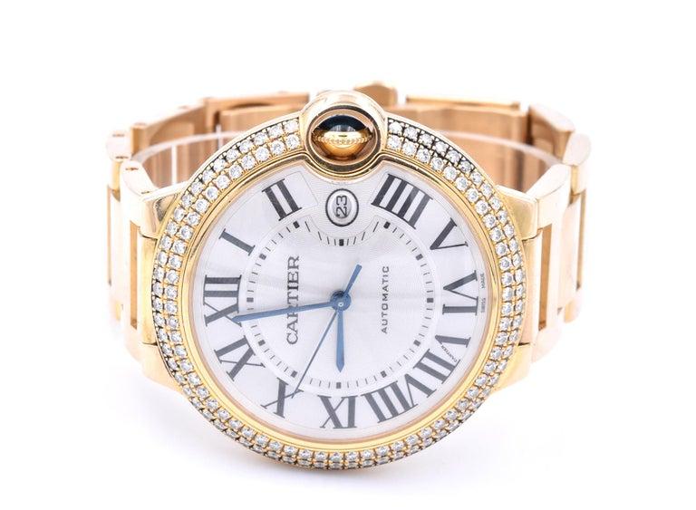 Round Cut Cartier Ballon Bleu 18 Karat Yellow Gold and Diamond Watch Ref. 2998 For Sale