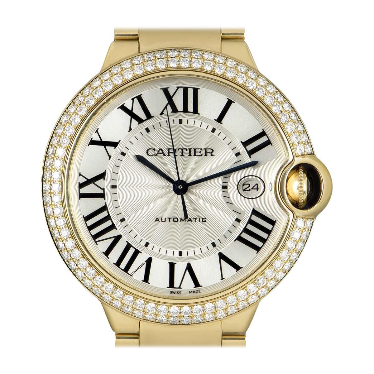 Cartier Ballon Bleu 18 Karat Gold Silver Guilloche Dial Diamond Set WE9007Z3