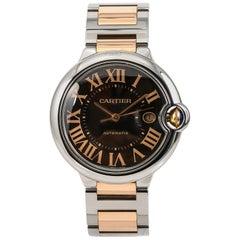 Cartier Ballon Bleu 3001 Men's Automatic Watch SS and 18 Karat Gold with Box