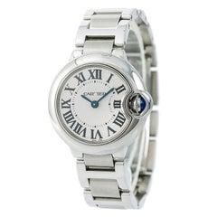 Cartier Ballon Bleu 3009 / W69010Z4 Frauen Quarz-Uhr Silber Ziffernblatt SS