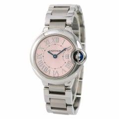 Cartier Ballon Bleu 3009 W6920038 Damen-Quarz-Armbanduhr Rosa Zifferblatt SS