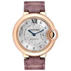 Cartier Ballon Bleu 33 Rose Gold Diamond Ladies Watch WE902063 Box Papers