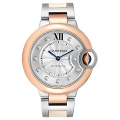 Cartier Ballon Bleu 33 Steel Rose Gold Diamond Ladies Watch WE902061