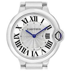 Cartier Ballon Bleu 36 Midsize Silver Guilloche Dial Watch W69011Z4