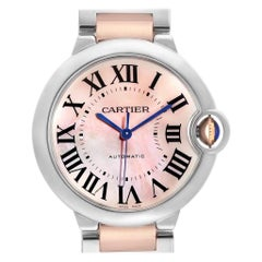 Cartier Ballon Bleu 36 Midsize Steel Rose Gold MOP Ladies Watch W6920070