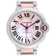 Cartier Ballon Bleu 36 Midsize Steel Rose Gold MOP Ladies Watch W6920070
