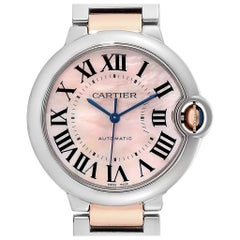 Cartier Ballon Bleu 36 Midsize Steel Rose Gold Pink MOP Watch W2BB0011