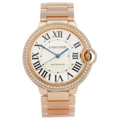 Cartier Ballon Bleu 36 WJBB0005 or 3003 Ladies Rose Gold Diamond Watch