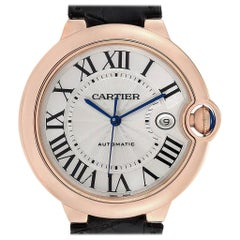 Cartier Ballon Bleu 42 Rose Gold Automatic Men's Watch WGBB0017 Box Papers