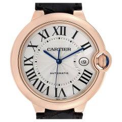 Cartier Ballon Bleu 42 Rose Gold Automatic Men's Watch WGBB0017 Box Papers