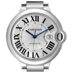 Cartier Ballon Bleu 42 Steel Automatic Men's Watch W69012Z4 Box Papers
