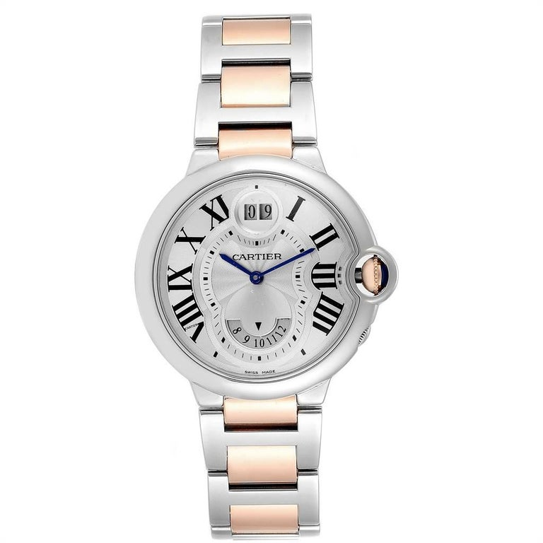 Cartier Ballon Bleu 42 Steel Rose Gold Two Time Zones Watch W6920027. Quartz movement. Round stainless steel case 36mm in diameter. Fluted 18K rose gold crown set with the blue spinel cabochon. Stainless steel smooth bezel. Scratch resistant